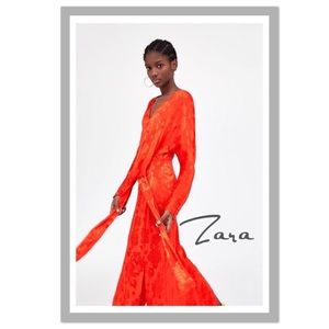 Host Pick! Zara Jacquard Dress With Knot - NWT